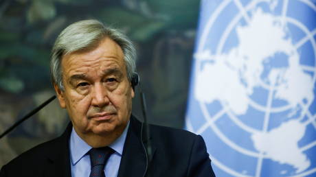 UN Secretary-General Antonio Guterres attends a news conference following talks with Russian Foreign Minister Sergey Lavrov in Moscow. © Reuters / Maxim Shemetov