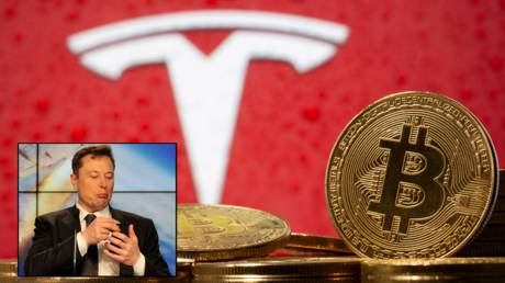 Tesla CEO Elon Musk (inset) said he would longer accepting Bitcoin for purchases of vehicles, May 12, 2021