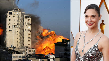 (L) Smoke and flames rise from a tower building as it is destroyed by Israeli air strikes, in Gaza City May 12, 2021; (R) Israeli actress Gal Gadot arrives at 90th Academy Awards, in Hollywood, California.