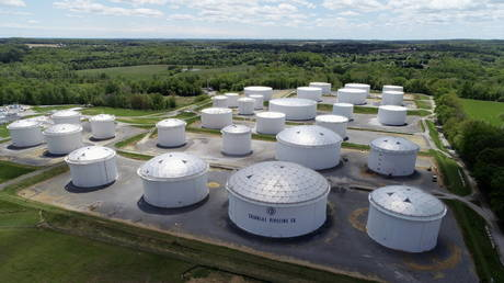 FILE PHOTO: Holding tanks are seen in an aerial photograph at Colonial Pipeline's Dorsey Junction Station in Woodbine, Maryland, US.