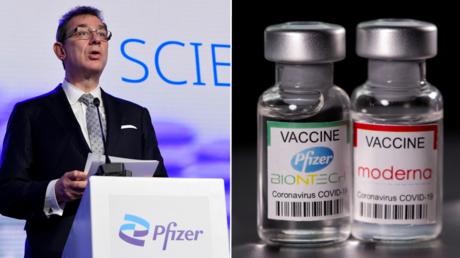 (L) Pfizer CEO Albert Bourla. © Reuters / John Thys; (R) Vials with Pfizer-BioNTech and Moderna coronavirus disease vaccine. © Reuters / Dado Ruvic.