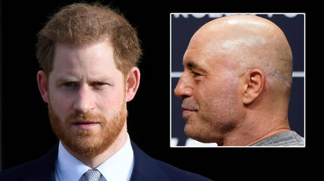 Prince Harry (left) was asked for his thoughts on Joe Rogan's comments about vaccines © Toby Melville / © Mike Blake