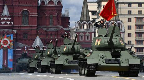 T-34-85 tanks are pictured during a dress rehearsal of the annual Victory Day military parade due to mark the upcoming 76th anniversary of the victory in World War II in Moscow, Russia.