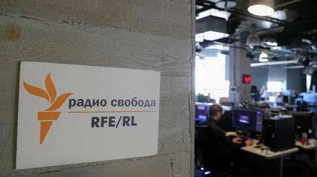 A view shows the newsroom of Radio Free Europe/Radio Liberty (RFE/RL) broadcaster in Moscow, Russia April 6, 2021. Picture taken April 6, 2021.