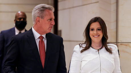 House Minority Leader Kevin McCarthy (R-CA) walks with Rep. Elise Stefanik (R-NY) after Republican caucus speaks to media