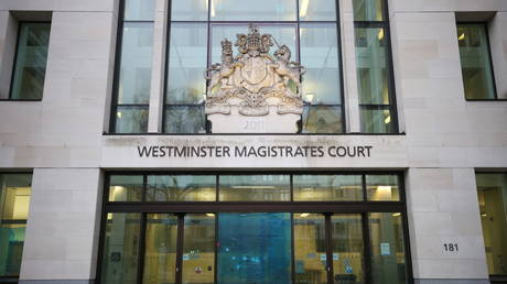 General view of an entrance of the Westminster Magistrates Court in London, Britain March 13, 2021.