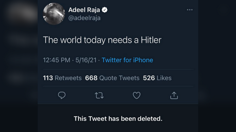 A screenshot shows Adeel Raja's since-deleted tweet about Adolf Hitler, May 16, 2021 © Twitter / @SirajAHashmi