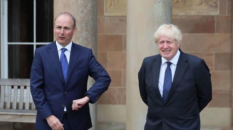 Prime Minister Boris Johnson (right) and Taoiseach Micheal Martin, August 13, 2020 in Belfast, Northern Ireland