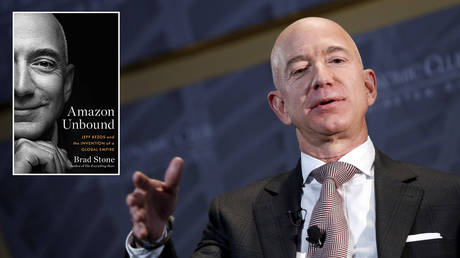Jeff Bezos © REUTERS / Joshua Roberts; (inset) 'Amazon Unbound: Jeff Bezos and the Invention of a Global Empire' by Brad Stone © Simon & Schuster