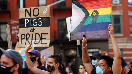 Demonstrators march in support of gay pride and black lives matter movements in New York City