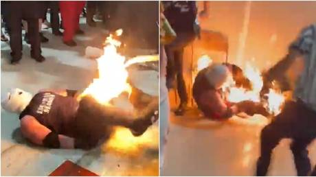 A wrestler burned in a stunt apparently gone wrong in the US. © Twitter @blazexx3 / @biglee756
