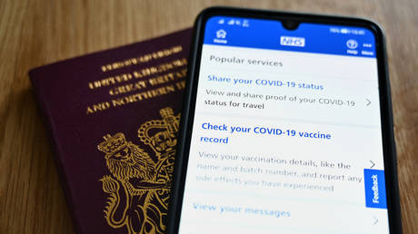 An illustration picture shows a smartphone screen displaying a Covid-19 vaccine record on the NHS app. © AFP / JUSTIN TALLIS