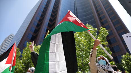 A pro-Palestine protest outside the Israeli consulate in Los Angeles, California, US, May 18, 2021. © Lucy Nicholson / Reuters