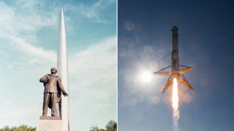 (L) A memorial to Konstantin Tsiolkovsky in Kaluga, Russia. © Sputnik; (R) FILE PHOTO. SpaceX's Falcon 9 rocket . © Getty Images / NASA