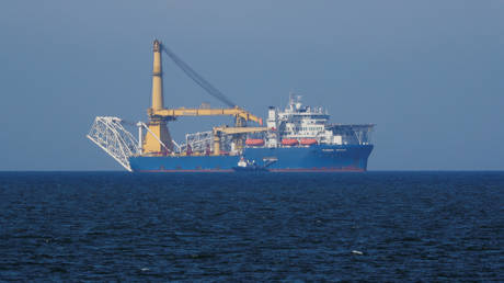 Pipe-laying vessel Akademik Cherskiy is among the 13 ships sanctioned by the US for building the Nord Stream 2 gas pipeline (May 3, 2020 photo).