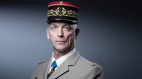 France's chief of the defense staff, Army General Francois Lecointre, in Paris, France, April 2021. © Joel Saget / AFP
