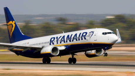 FILE PHOTO: A Ryanair airplane takes off from the airport in Palma de Mallorca, Spain. ©REUTERS / Paul Hanna