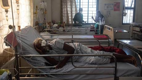 Patients of Mucormycosis or black fungus in a dedicated ward for similar patients at Noble Hospital, Hadapsar on May 22, 2021 in Pune, India. © Pratham Gokhale / Hindustan Times via Getty Images
