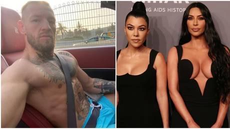 UFC star Conor McGregor and Kourtney and Kim Kardashian. © Instagram @thenotoriousmma / Reuters