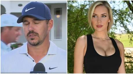 Golf star Brooks Koepka was caught in an awkward interview commented on by social media sensation Paige Spiranac. © Twitter / Instagram @_paige.renee