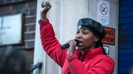Black Lives Matter activist Sasha Johnson speaks outside of Tottenham Police Station in protest at the targeting of a black youth by officers and misuse of stop and search powers on December 19, 2020 in London, England.