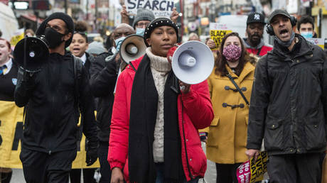 FILE PHOTO. Sasha Johnson at a protest against police violence in London, England