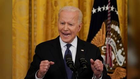 President Joe Biden is shown speaking at a White House event last week.