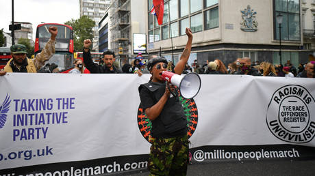 Sasha Johnson at the inaugural Million People March march from Notting Hill to Hyde Park in London on August 30, 2020