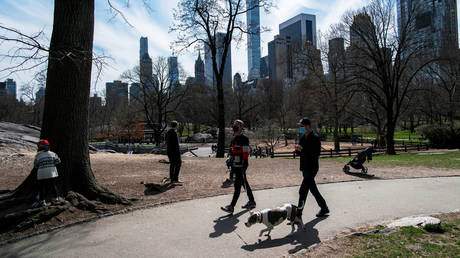 FILE PHOTO: People walk their dog while others enjoy the day at New York's Central Park.