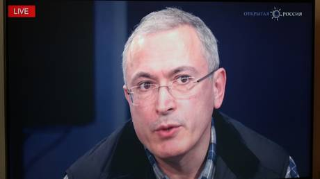FILE PHOTO. Mikhail Khodorkovsky during an online news conference in the Moscow office of the Open Russian movement. © Sputnik