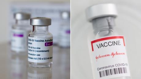 (L) Vials of AstraZeneca's COVID-19 vaccine in Vienna, Austria. © Reuters / Leonhard Foeger; (R) FILE PHOTO: Johnson&Johnson coronavirus disease (COVID-19) vaccine. © Reuters / Dado Ruvic
