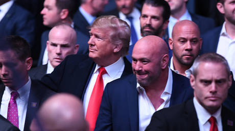 Donald Trump visited UFC 244 with Dana White at Madison Square Garden in November 2019. © Zuffa LLC via Getty Images