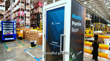 A screenshot from Amazon's video promoting its 'AmaZen' booth, May 27, 2021 © Twitter / Amazon
