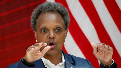 FILE PHOTO: Chicago Mayor Lori Lightfoot speaks at an event at the University of Chicago, in Chicago, Illinois.
