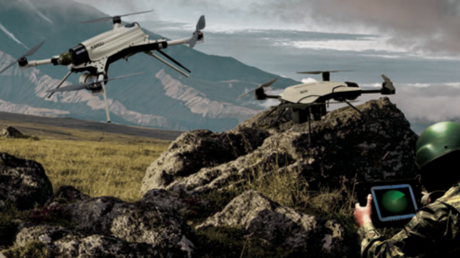 A promotional photo from manufacturer STM showing the Kargu-2 drone in action © STM