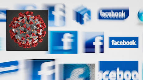 FILE PHOTO. Facebook will no longer censor claims SARS-CoV-2 virus (inset) is man-made. © REUTERS/Valentin Flauraud