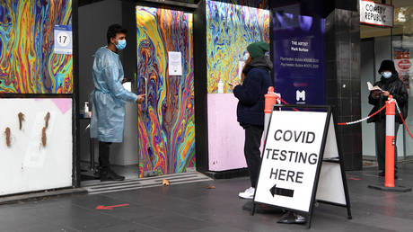 Covid-19 testing centre in Melbourne on May 26, 2021. © AFP / William WEST