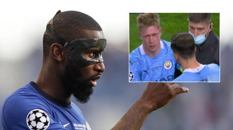 Rudiger was accused of a cynical foul on De Bruyne. © Reuters / Twitter