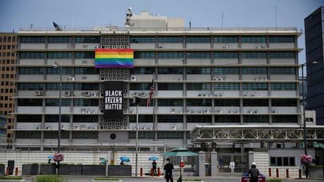 Black Lives Matter banner below an LGBT pride flag at the US embassy in Seoul, South Korea