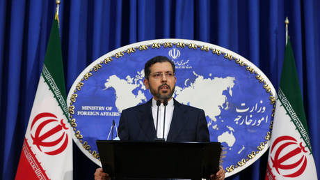 Iranian Foreign Ministry Spokesman Saeed Khatibzadeh speaks about the conflicts between Azerbaijan and Armenia during a press conference held at the Ministry of Foreign Affairs building in Tehran, Iran on October 5, 2020. © Fatemeh Bahrami/Anadolu Agency via Getty Images