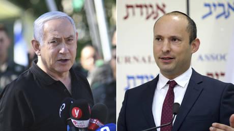 (L) Benjamin Netanyahu © Yuval Chen/Pool via REUTERS; (R) Naftali Bennett © REUTERS/Corinna Kern