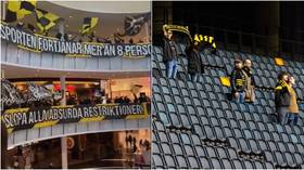 Swedish football fans protest 'absurd' Covid rules as they meet in shopping mall – while only EIGHT people allowed in nearby arena