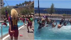 Pool party: Barca women take plunge after winning title with ASTONISHING points & goals tally as Chelsea loom in UCL final (VIDEO)
