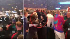 Dramatic footage shows Saunders' father manhandled by security as he rushes to son's aid after Canelo defeat and Fury watches on