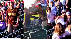Padres fan brutally knocks rival MLB supporter out cold with one-punch hit – but police say victim will not press charges (VIDEO)
