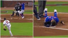 'Sick to my stomach': Blood spurts from baseball star Kevin Pillar after he takes 94mph pitch straight to the face (VIDEO)