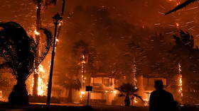 Hundreds evacuated in Greece as fire rages through countryside in Corinth region