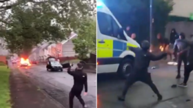 Wales police pledge to arrest those behind Swansea riot, during which cars were burned and police van sent in retreat (VIDEOS)