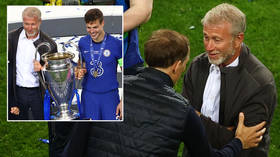 Roman Abramovich poses on pitch after Champions League final as Tuchel admits he met Chelsea chief for first time on night (VIDEO)