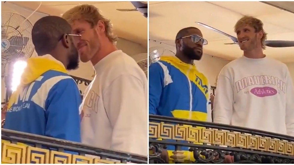 Floyd Mayweather pledges to show Logan Paul 'the difference between YouTube boxing and elite boxing' at tense staredown (VIDEO)